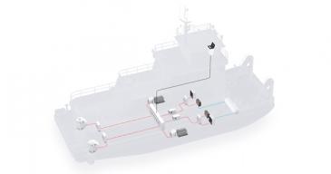 ABBn mallikuva polttokennoista työntöaluksessa.