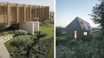 Vasemmalla Beloura, persoonallinen yksityiskoti Belourassa Portugalissa. Yläkerran suuret ikkunat on peitetty Lunawoodin aurinkorimoilla. Oikealla Shear House, moderni perheen talo Koreassa. Lunawoodin Thermowood ulkoverhoilu säätelee lämpöä ja kosteutta ympäri vuoden.