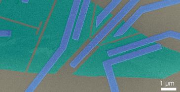 Elektronimikroskooppikuva näytteestä, jossa vihreät kerrokset kuvaavat grafeenia, joka on harmaana kuvatun piidioksidin päällä. Keskellä olevaa, heikosti grafeeniin kytkettyä elektrodia käytetään lomittuneiden elektronien tuottamiseen. Kuva: Kylmälaboratorio, Aalto-yliopisto.