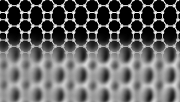 Rakennekuvan yläosa esittää bifenyleenin hiiliatomien säännönmukaisesti muodostamat neli-, kuusi- ja kahdeksankulmiot. Alaosa on atomivoimamikroskooppikuva keinotekoisesti valmistetusta materiaalista.