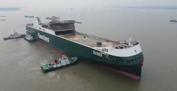 Finnlinesin hybridiroro-alus Finneco I laskettiin vesille Kiinan Nanjing Jinling -telakalla
