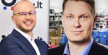 Hobby Hallin konsernijohtaja Dainius Liulys ja toimitusjohtaja Janne Sorakivi.