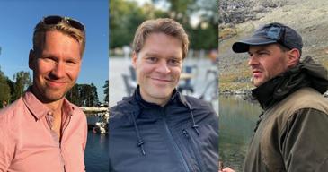 Kuvassa Ville Haaramo (vasemmalla), Tobias Victorzon ja Samuli Jussila.