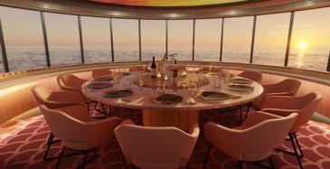 Viking Gloryn kabinetissa pyörivä pöytä ja 220 asteen panoraamanäkymä