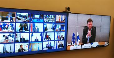 EU-liikenneministereiden videokonferenssi 18.3.2020, liikenne- ja viestintäministeri Timo Harakka.
